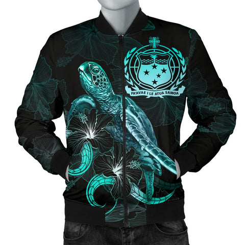 Samoa Polynesian Men's Bomber Jacket - Turtle With Blooming Hibiscus Turquoise