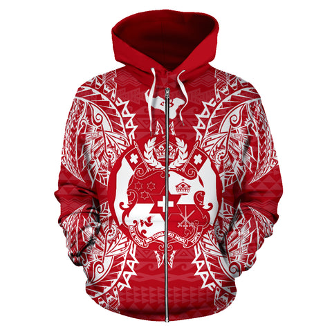 Tonga Polynesian All Over Zip Up Hoodie Map Red White