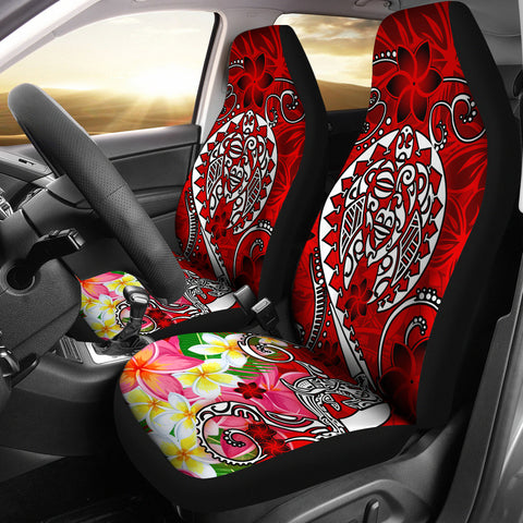 Polynesian Car Seat Covers - Turtle Plumeria Red Color