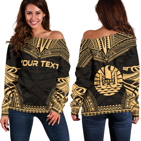 Tahiti Polynesian Chief Custom Personalised Women's Off Shoulder Sweater - Gold Version - Polynesian Apparel, Poly Clothing, Women Sweater
