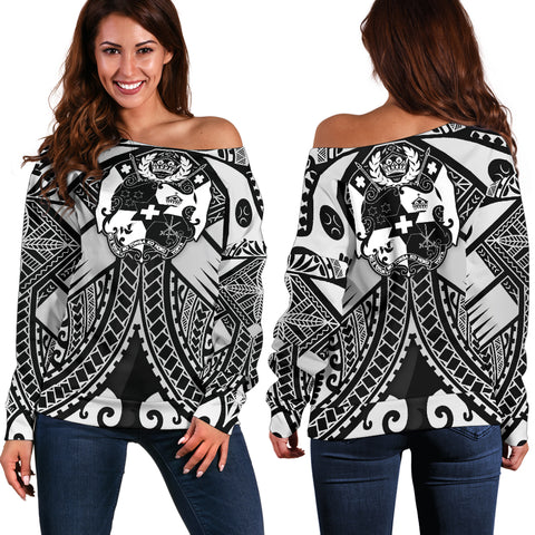 Image of Tonga Polynesian Women's Off Shoulder Sweater - Tonga White Seal with Polynesian tattoo