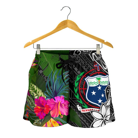 Samoa Women Shorts - Turtle Plumeria Banana Leaf - BN11