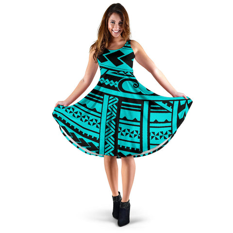 Polynesian Tribal Women's Dress - Blue Version