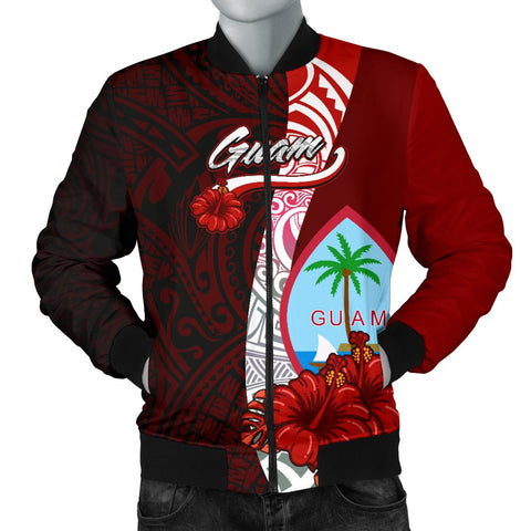 Image of Guam Polynesian Men's Bomber Jacket - Coat Of Arm With Hibiscus
