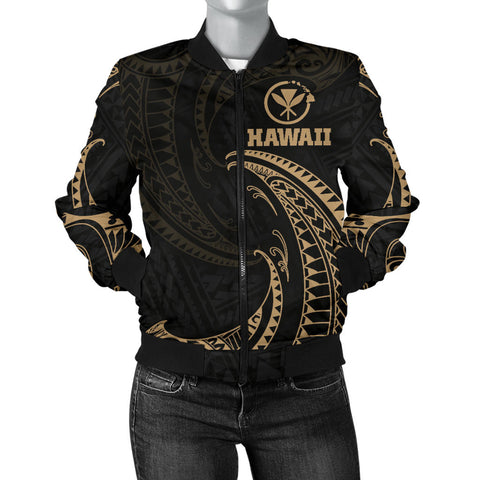 Hawaii Polynesian Women's Bomber Jacket - Gold Tribal Wave - BN12