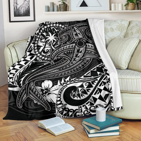 Chuuk Premium Blanket - White Shark Polynesian Tattoo