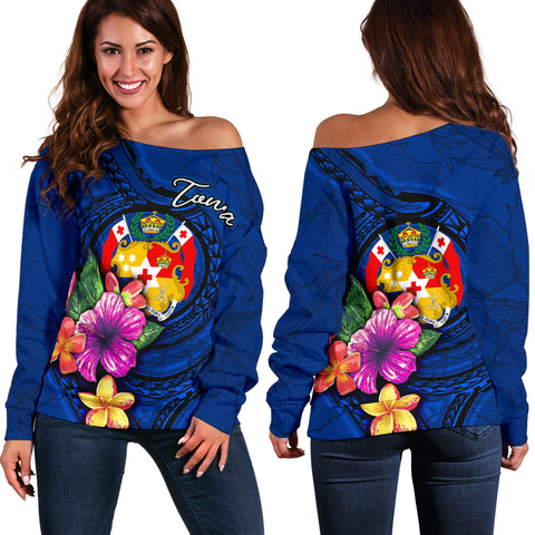 Image of Tonga Polynesian Women's Off Shoulder Sweater - Floral With Seal Blue