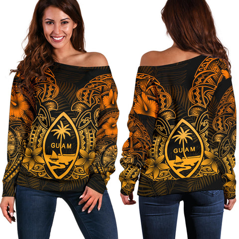 Guam Polynesian Off Shoulder Sweater - Gold Turtle Homeland
