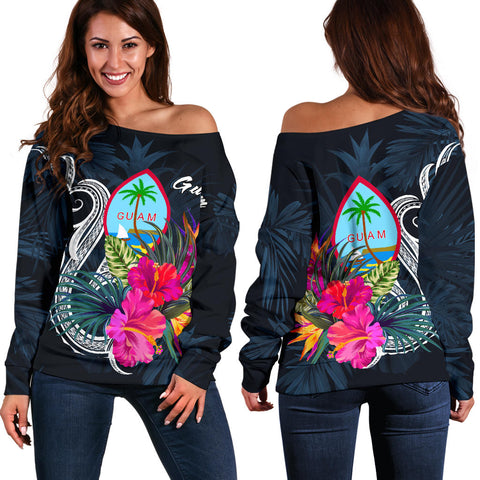Guam Polynesian Women's Off Shoulder Sweater - Tropical Flower