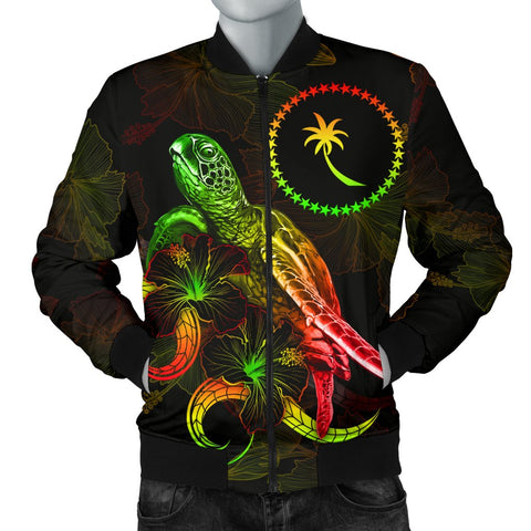 Chuuk Polynesian Men's Bomber Jacket - Turtle With Blooming Hibiscus Reggae