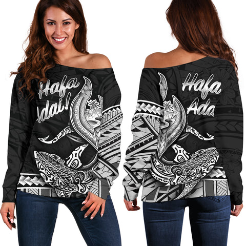 Guam Women's Off Shoulder Sweater - Hafa Adai Polynesian Patterns