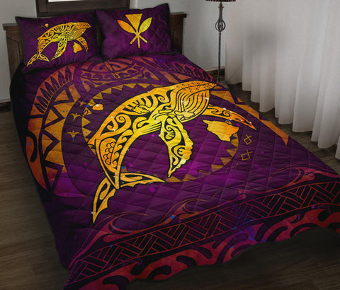 Polynesian Hawaii Quilt Bed Set - Whale Hawaii Map Purple Galaxy