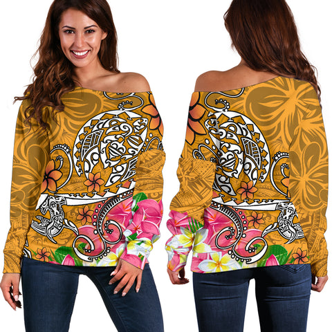 Polynesian Women's Off Shoulder Sweater - Turtle Plumeria Gold Color