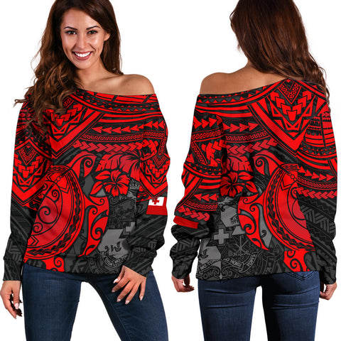 Image of Tonga Polynesian Women's Off Shoulder Sweater - Red Turtle
