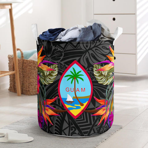 Guam Laundry Basket Hibiscus Polynesian Pattern