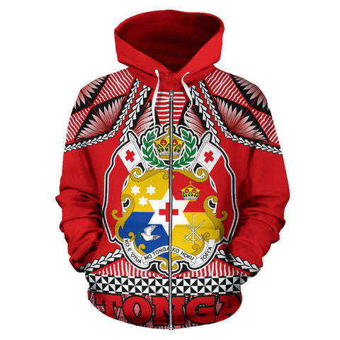Tonga Polynesian All Over Zip Up Hoodie - Coat Of Arms - BN12