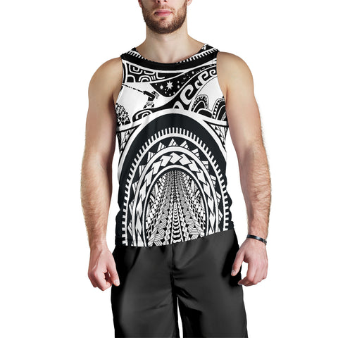 Polynesian Men's Tank Top, Maui Tattoo Polynesian Patterns (White) - BN17