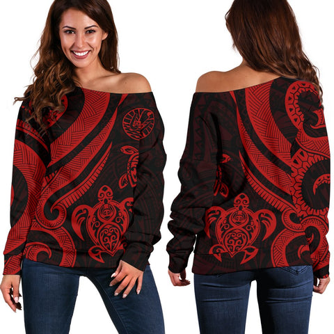Tahiti Polynesian Women Of Shoulder Sweater - Red Tentacle Turtle