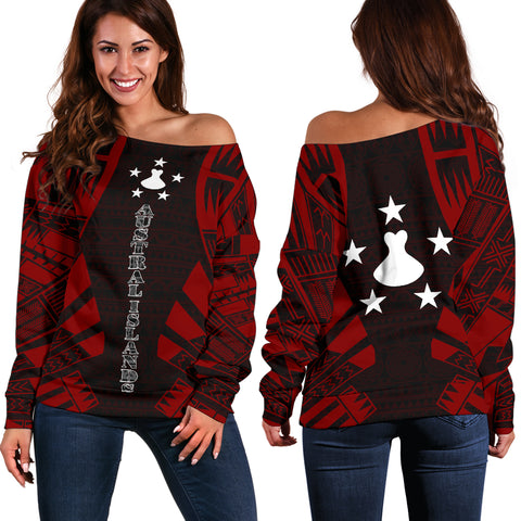 Austral Islands Women's Off Shoulder Sweater - Polynesian Tattoo Red