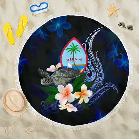 Guam Polynesian Beach Blanket - Turtle With Plumeria Flowers