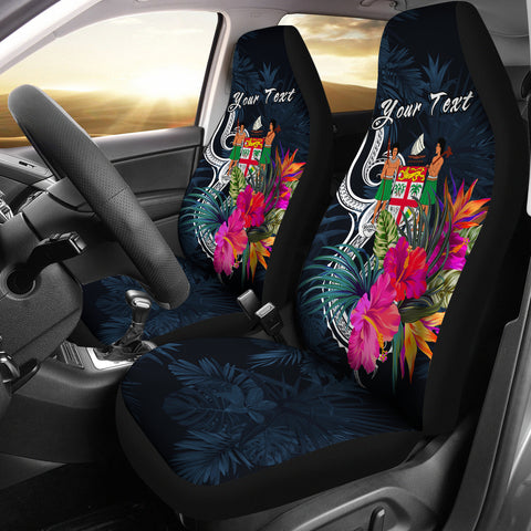 Image of Fiji Polynesian Custom Personalised Car Seat Covers - Tropical Flower