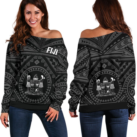 Fiji Women's Off Shoulder Off Shoulder - Fiji Seal With Polynesian Tattoo Style (Black)
