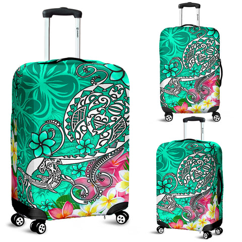 Image of Polynesian Luggage Covers - Turtle Plumeria Turquoise Color - BN18