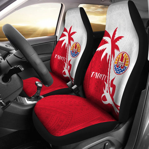 Tahiti Polynesian Car Seat Covers - Tahiti Flag Coconut Tree - K4 1ST