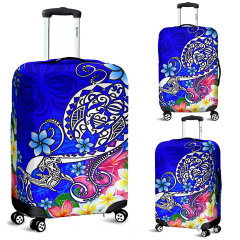 Polynesian Luggage Covers - Turtle Plumeria Blue Color - BN18
