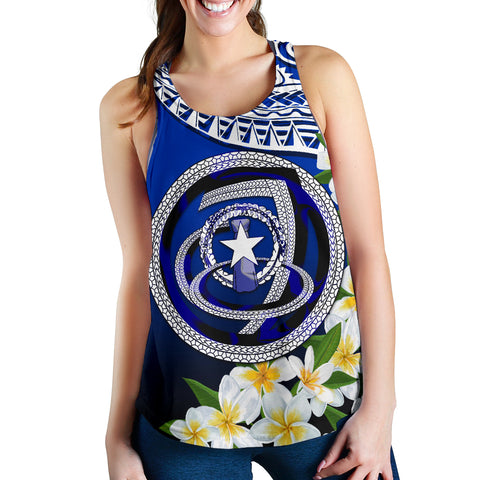 Image of Northern Mariana Islands Women's Racerback Tank - Polynesian Plumeria Pattern