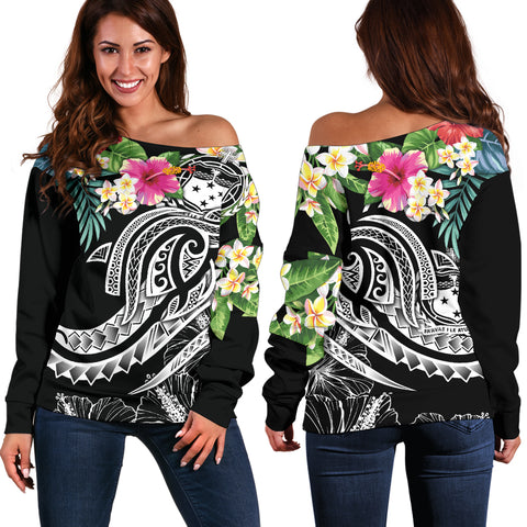 Polynesian Samoa Women's Off Shoulder Sweater - Summer Plumeria (Black)