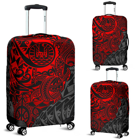 Tahiti Polynesian Luggage Cover - Red Turtle Hibiscus Flowing
