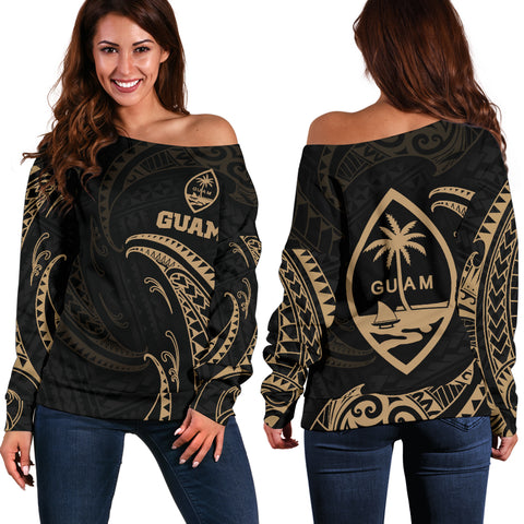 Guam Polynesian Women's Off Shoulder Sweater - Gold Tribal Wave