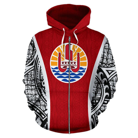 Image of Tahitian Polynesian Zip-Up Hoodie Coat Of Arms Th5 1ST