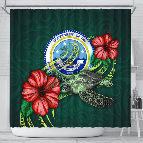 Federated States of Micronesia Polynesian Shower Curtain - Green Turtle Hibiscus