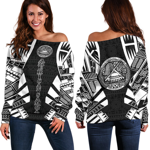Image of American Samoa Women's Off Shoulder Sweater - Polynesian Tattoo Black