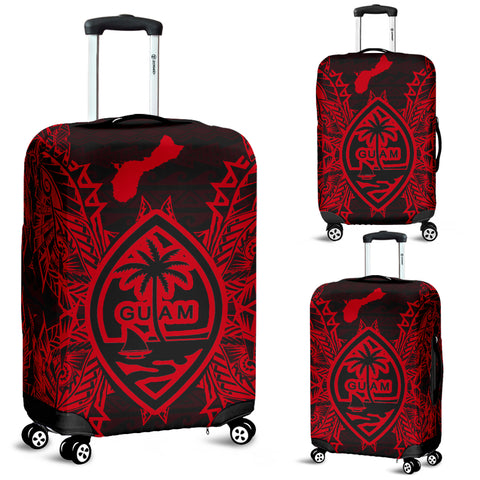 Guam Polynesian Luggage Covers Map Red