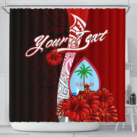 Guam Polynesian Custom Personalised Shower Curtain - Coat Of Arm With Hibiscus