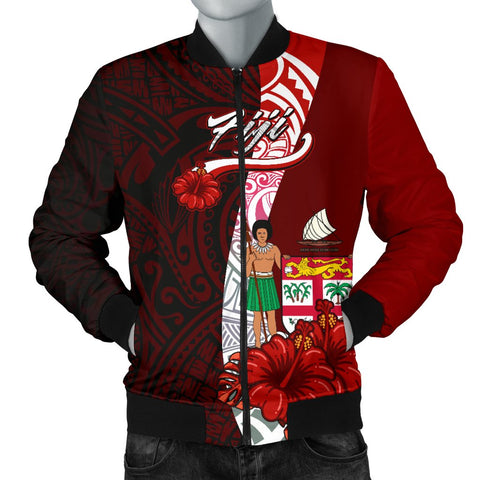 Fiji Polynesian Men's Bomber Jacket - Coat Of Arm With Hibiscus