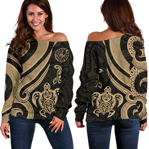 Tahiti Polynesian Women Of Shoulder Sweater - Gold Tentacle Turtle