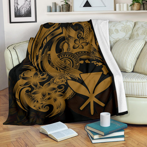 Polynesian Hawaii All Over Premium Blanket - Kanaka Maoli Gold Turtle