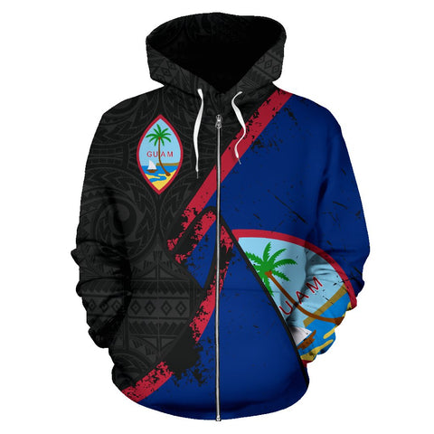 Guam Special Grunge Flag Zip-Up Hoodie | Clothing | Love The World