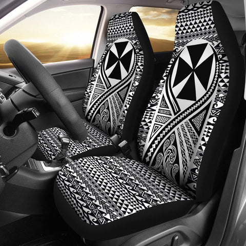 Image of Wallis And Futuna Car Seat Cover Lift Up Black