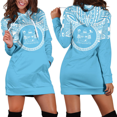 Fiji Women Hoodie Dress - Fiji Coat Of Arms Polynesian Flag Color