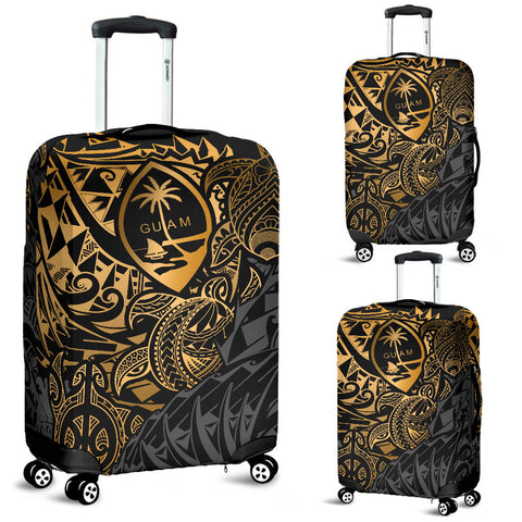 Guam Polynesian Luggage Covers - Gold Turtle Flowing