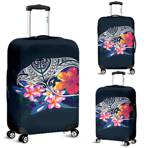 Polynesian Luggage Covers - Manta Ray And Hibiscus