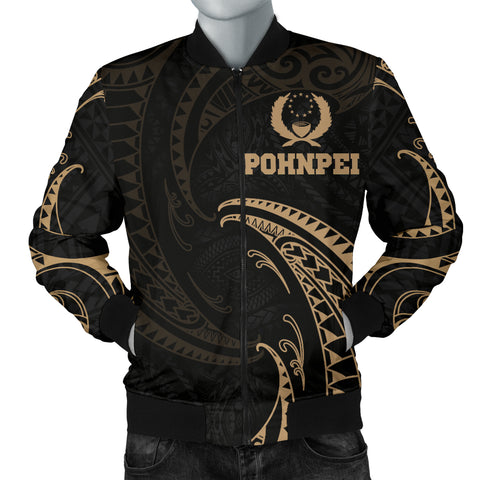 Pohnpei Micronesia Men's Bomber Jacket - Gold Tribal Wave