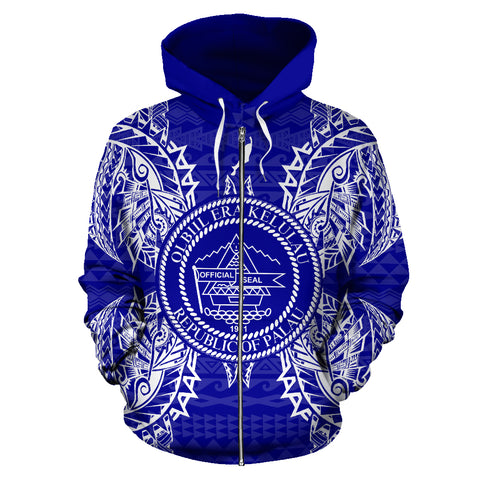 Palau Polynesian All Over Zip Up Hoodie Map Blue