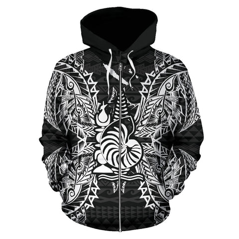 New Caledonia Polynesian All Over Zip Up Hoodie Map Black