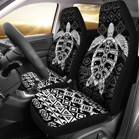 Polynesian Car Seat Covers - Polynesian Turtle Pattern White - BN22